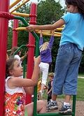 Girls on jungle gym